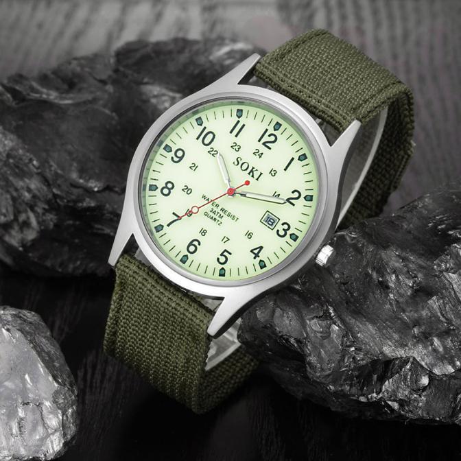 2020ミリタリー日付キャンバスバンドステンレススチールスポーツクォーツ腕時計メンズ腕時計防水レロジオMASCULINOリロイ_画像2