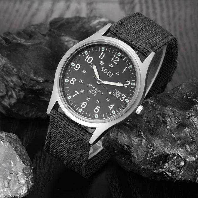 2020ミリタリー日付キャンバスバンドステンレススチールスポーツクォーツ腕時計メンズ腕時計防水レロジオMASCULINOリロイ_画像4