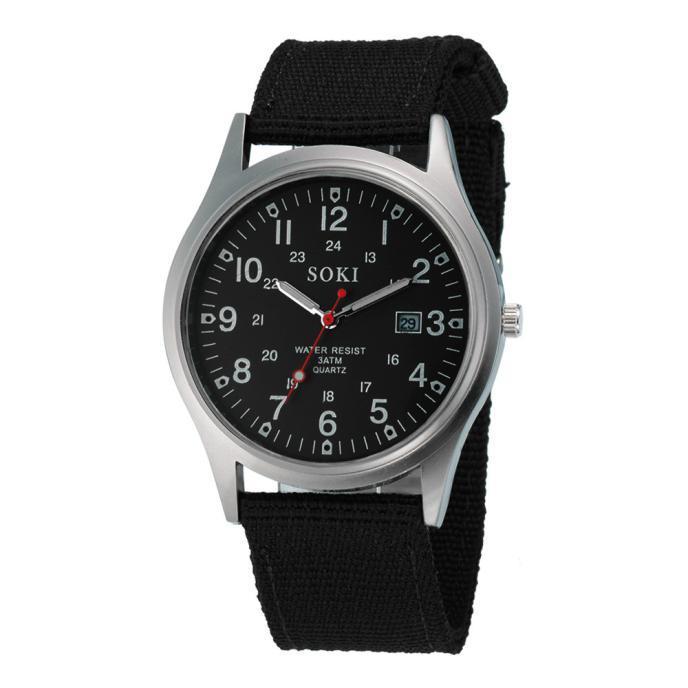 2020ミリタリー日付キャンバスバンドステンレススチールスポーツクォーツ腕時計メンズ腕時計防水レロジオMASCULINOリロイ_画像8