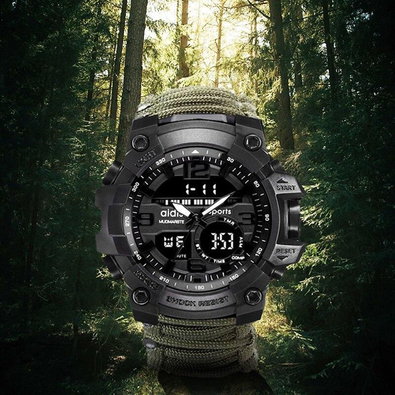 LED ミリタリー ウォッチコンパス 30 メートル男性防水スポーツ時計男性ファッション時計電子デジタルディスプレイ腕時計_画像2