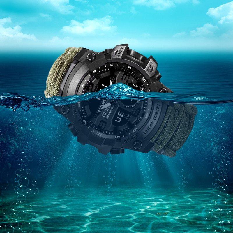 LED ミリタリー ウォッチコンパス 30 メートル男性防水スポーツ時計男性ファッション時計電子デジタルディスプレイ腕時計_画像3