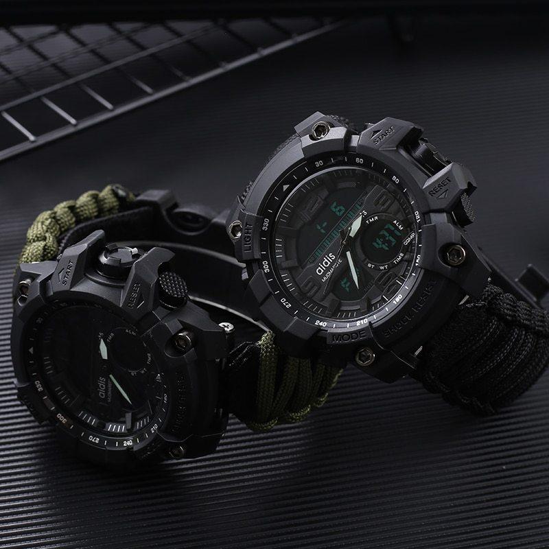 LED ミリタリー ウォッチコンパス 30 メートル男性防水スポーツ時計男性ファッション時計電子デジタルディスプレイ腕時計_画像5