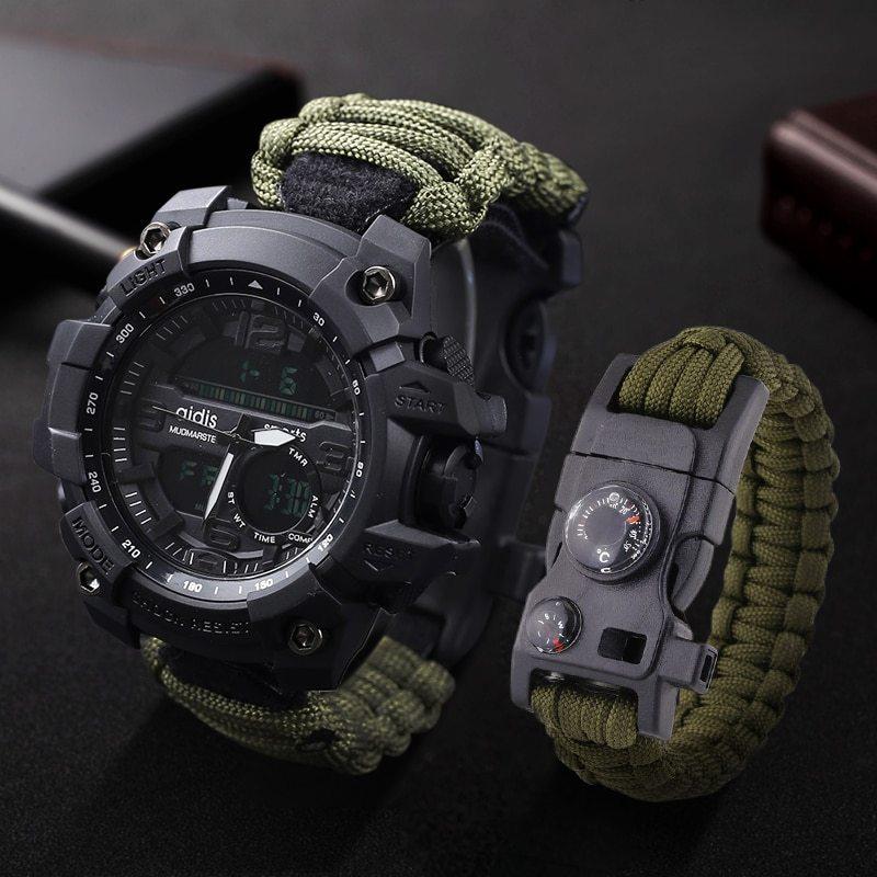 LED ミリタリー ウォッチコンパス 30 メートル男性防水スポーツ時計男性ファッション時計電子デジタルディスプレイ腕時計_画像6