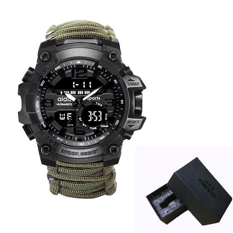 LED ミリタリー ウォッチコンパス 30 メートル男性防水スポーツ時計男性ファッション時計電子デジタルディスプレイ腕時計_画像9