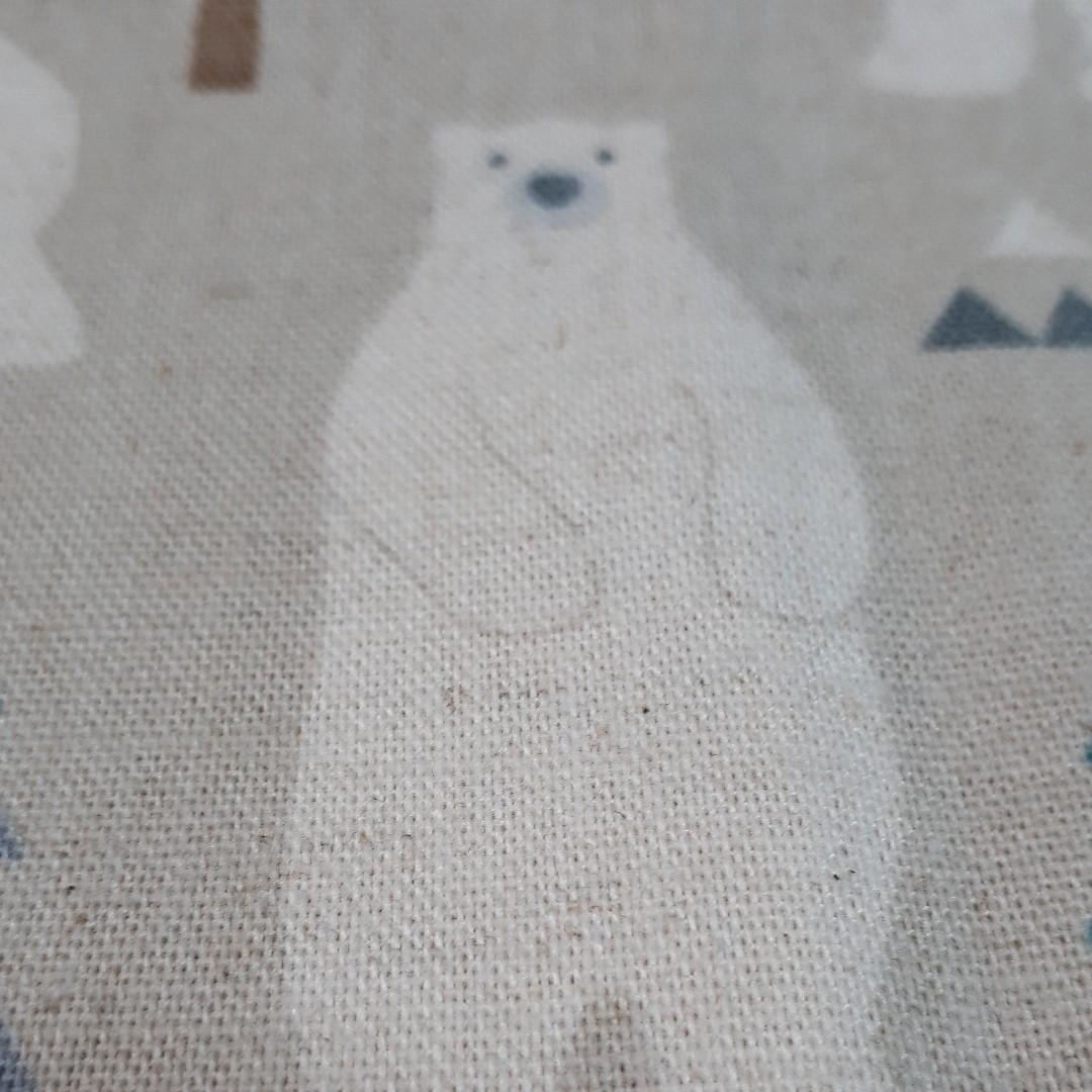 綿麻生地 クマの森(グレージュ)