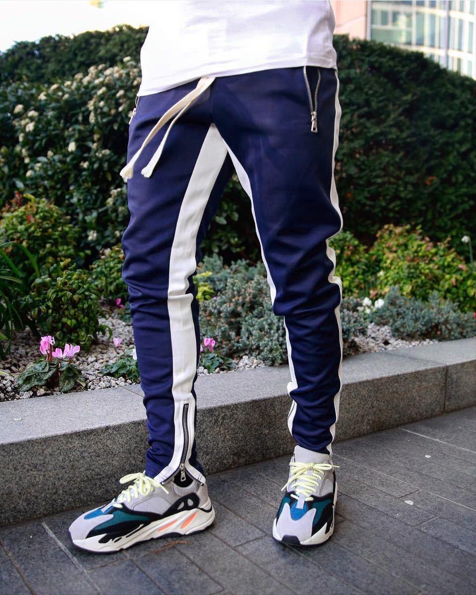 【Lサイズ】ブルー ジョガーパンツ ラインパンツ スキニー スウェット パンツ