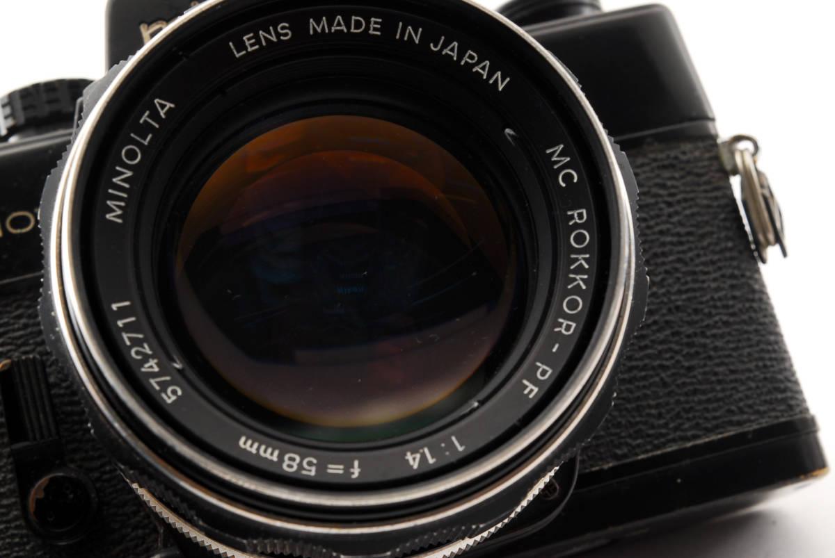 送料無料・動作品★minoltaフィルムカメラ★minolta ミノルタ SRT101 MC ROKKOR-PF 1:1.4 f=58mm レンズ ボディ フィルムカメラ現状品_画像4