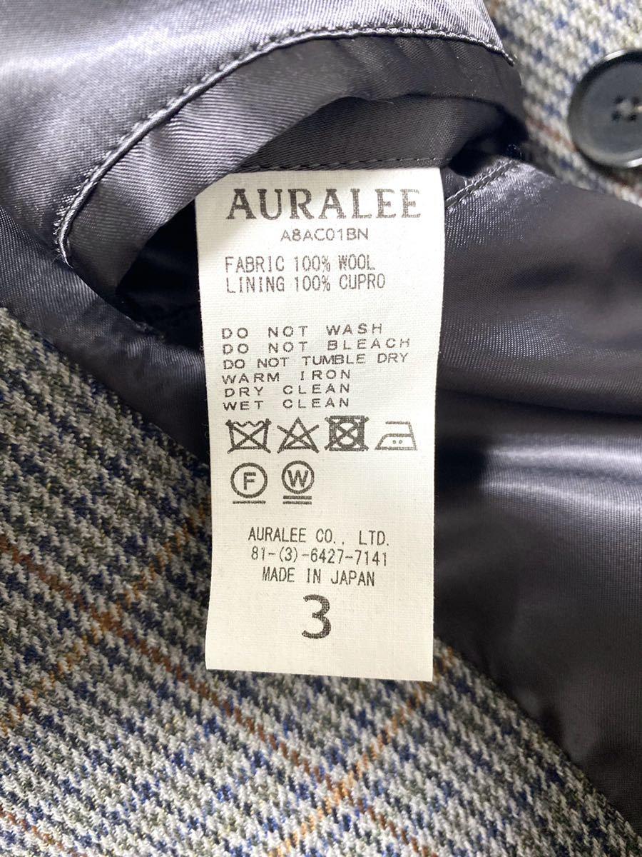 AURALEE 18AW ガンクラブ チェック ロング コート 3 オーラリー