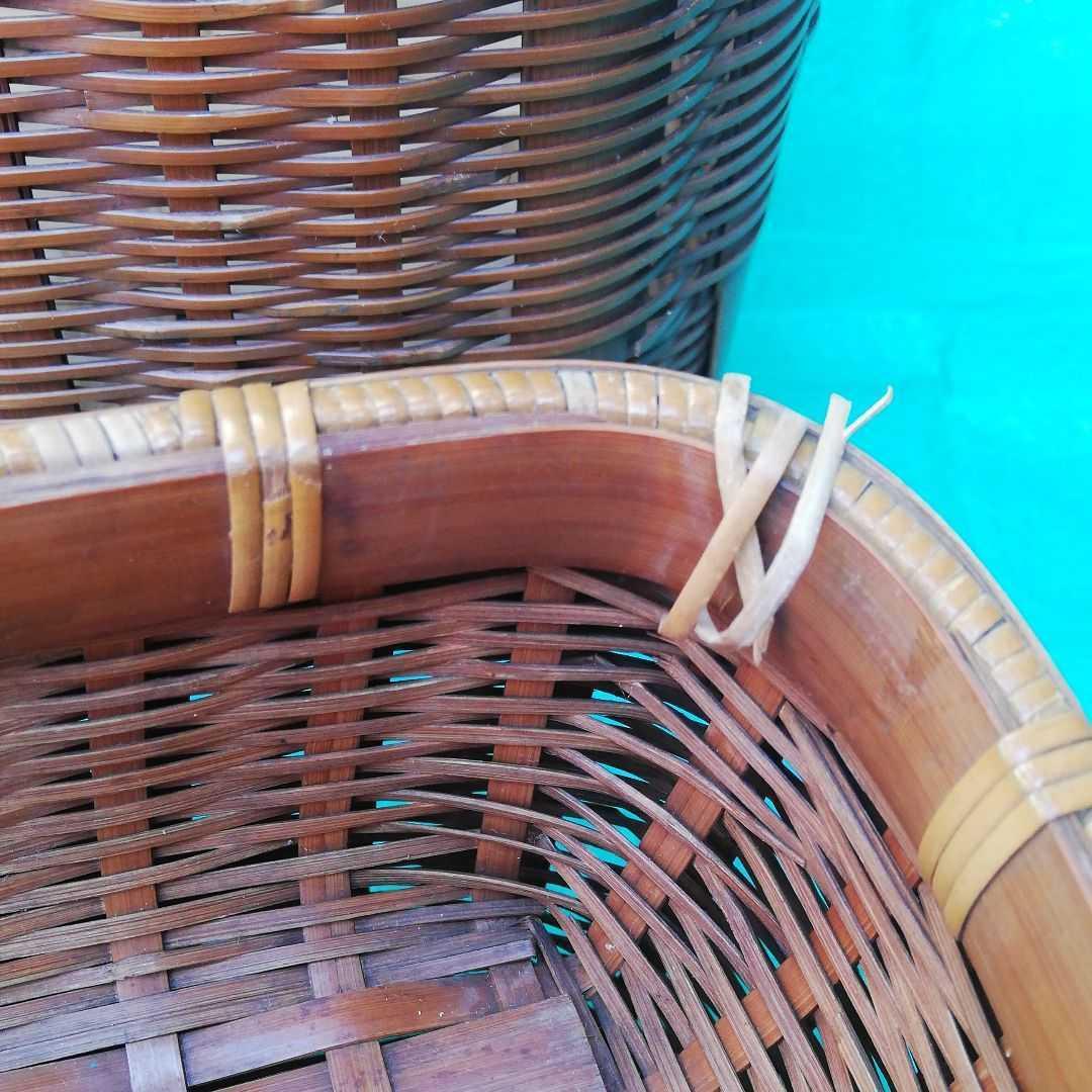 魚籠 昭和レトロ 3段 竹細工 伝統工芸 鮎 渓流 釣り道具 手作り かご 古民具 竹かご _画像6