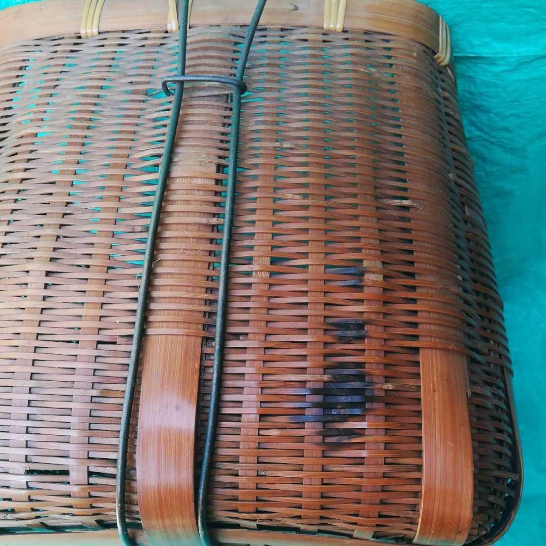 魚籠 昭和レトロ 3段 竹細工 伝統工芸 鮎 渓流 釣り道具 手作り かご 古民具 竹かご _画像10