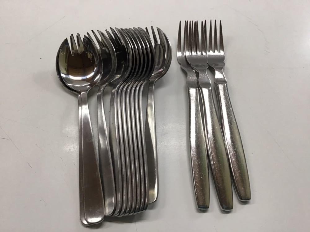 ステンレス カトラリー ナイフ・フォーク・スプーン 122本 大量 まとめて 飲食店 テーブル 食卓 洋食 中古