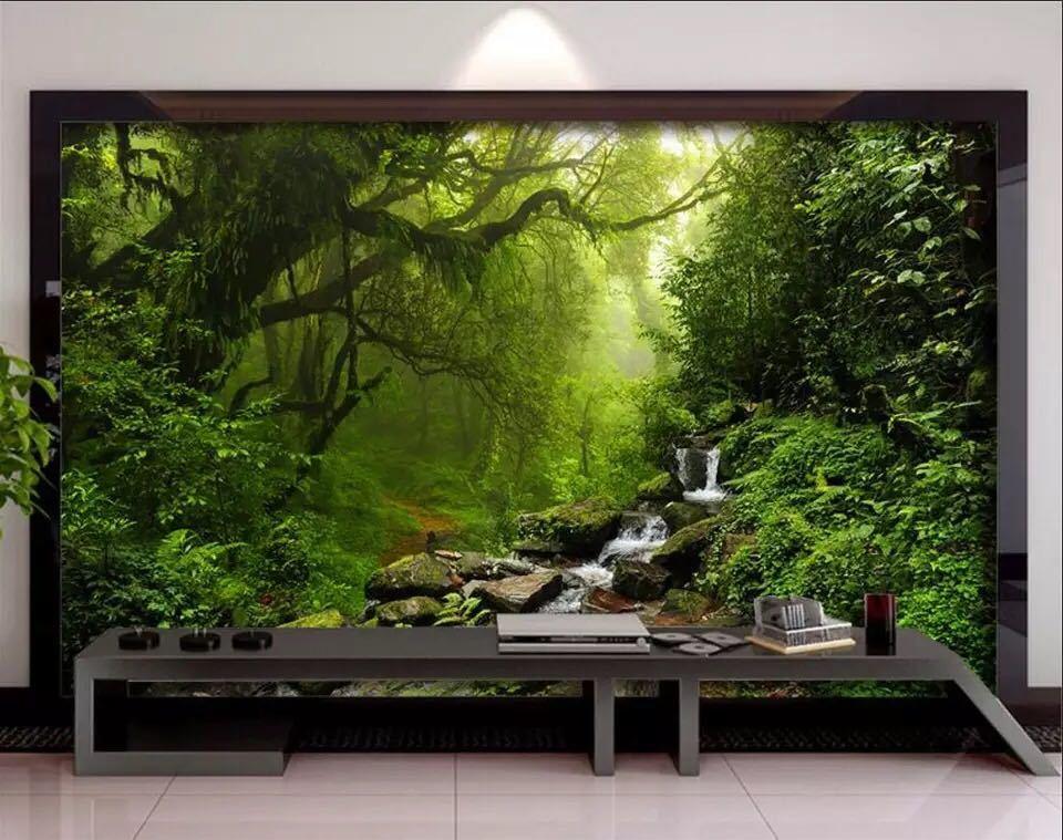 Beibehang カスタム壁紙緑の森ビッグツリー 3D テレビ背景水風景装飾背景 3d 壁紙_画像3