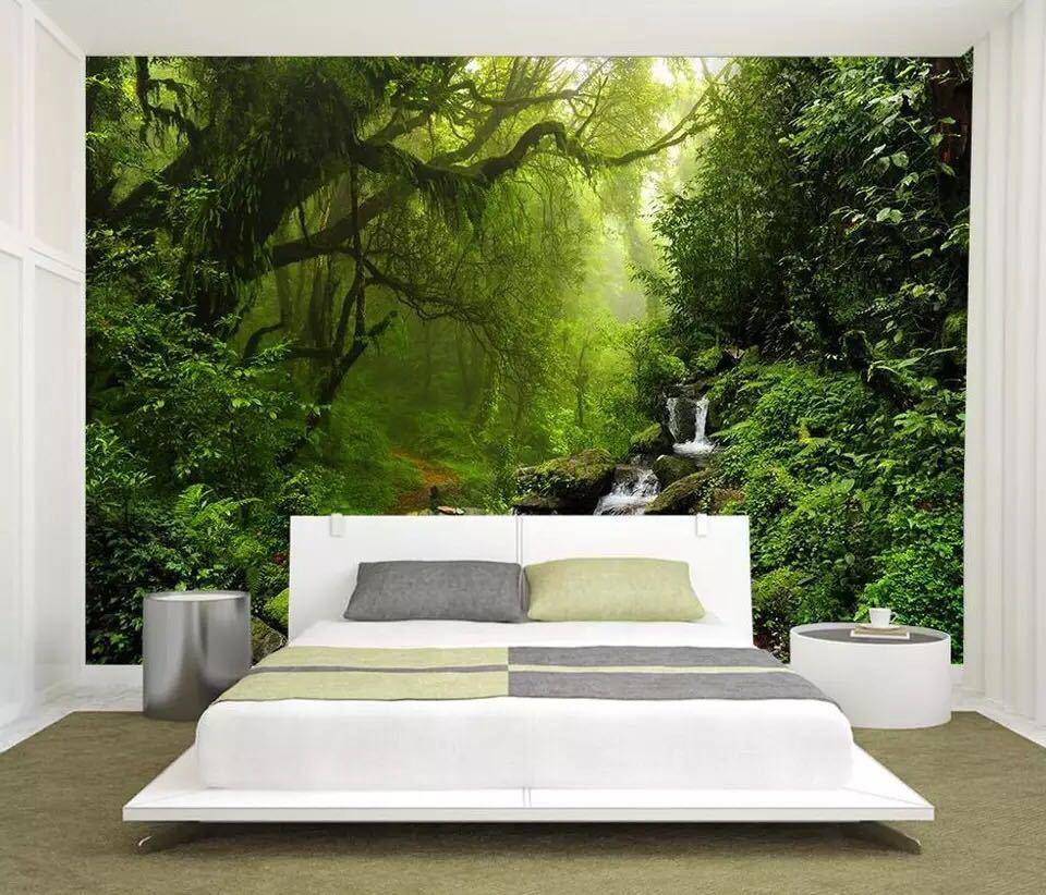 Beibehang カスタム壁紙緑の森ビッグツリー 3D テレビ背景水風景装飾背景 3d 壁紙_画像4