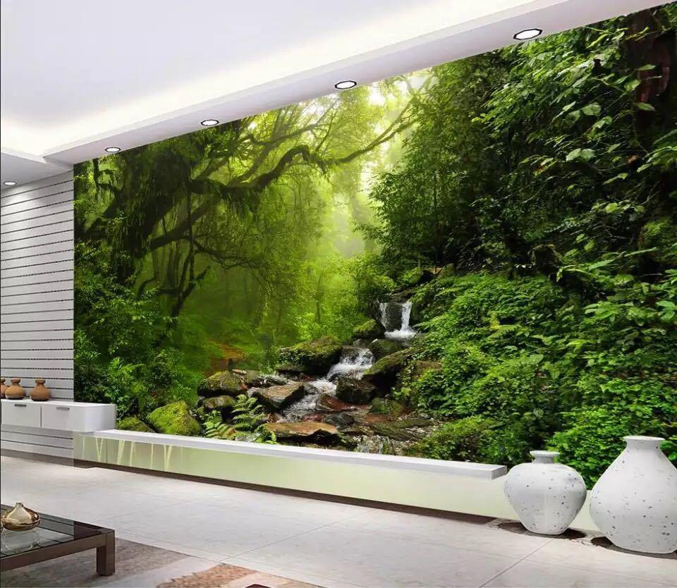Beibehang カスタム壁紙緑の森ビッグツリー 3D テレビ背景水風景装飾背景 3d 壁紙_画像1