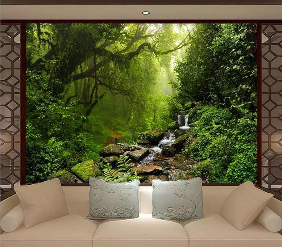 Beibehang カスタム壁紙緑の森ビッグツリー 3D テレビ背景水風景装飾背景 3d 壁紙_画像2