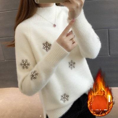 秋冬 可愛い 刺繍 暖かい *ニットセーター カシュクールニットトップス 白
