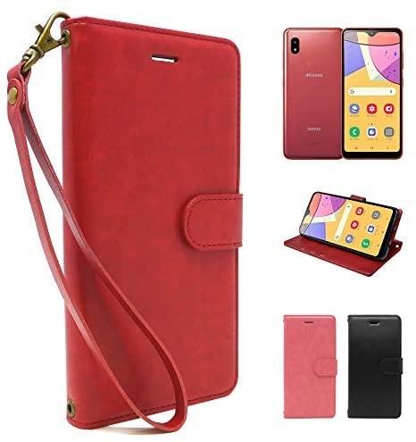 シズカウィル(shizukawill) Galaxy A21 docomo SC-42A 手帳型 赤色 PUレザー レッド_画像1