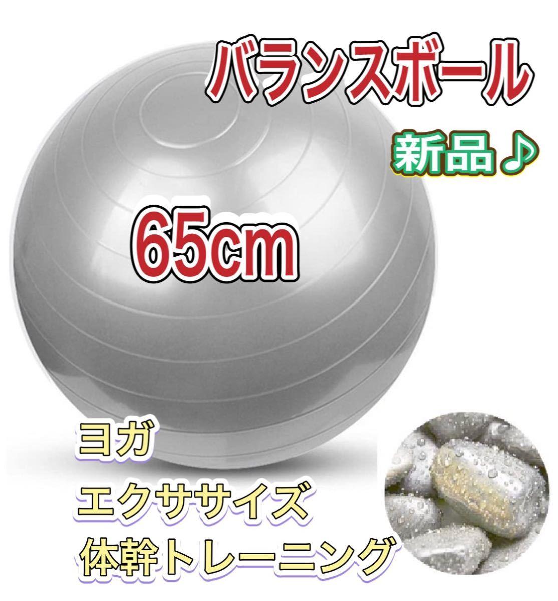 バランスボール プレゼント付き!シルバー65cm ヨガ体幹トレーニング エクササイズ フィットネス