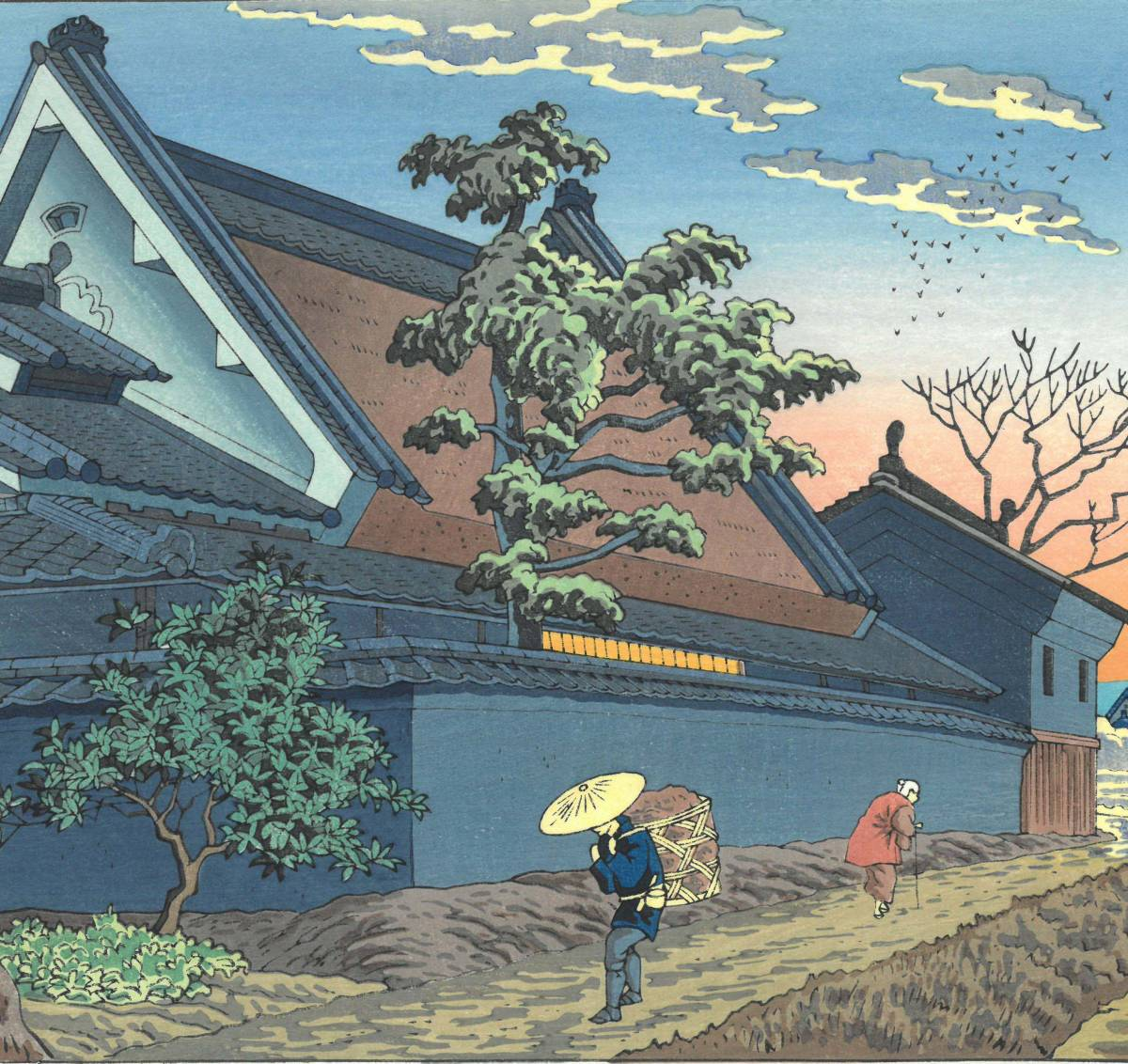 浅野竹二 (Asano Takeji) 木版画 TA20 大和路暮色 新版画 初版昭和20年頃 京都の一流の摺師の技をご堪能下さい!!_画像7