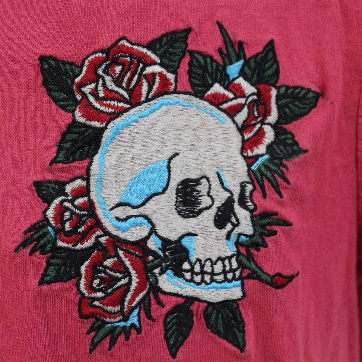 エドハーディー ED HARDY メンズ半袖Tシャツ ピンクレッド Sサイズ 新品 ロゴ刺繍_画像2
