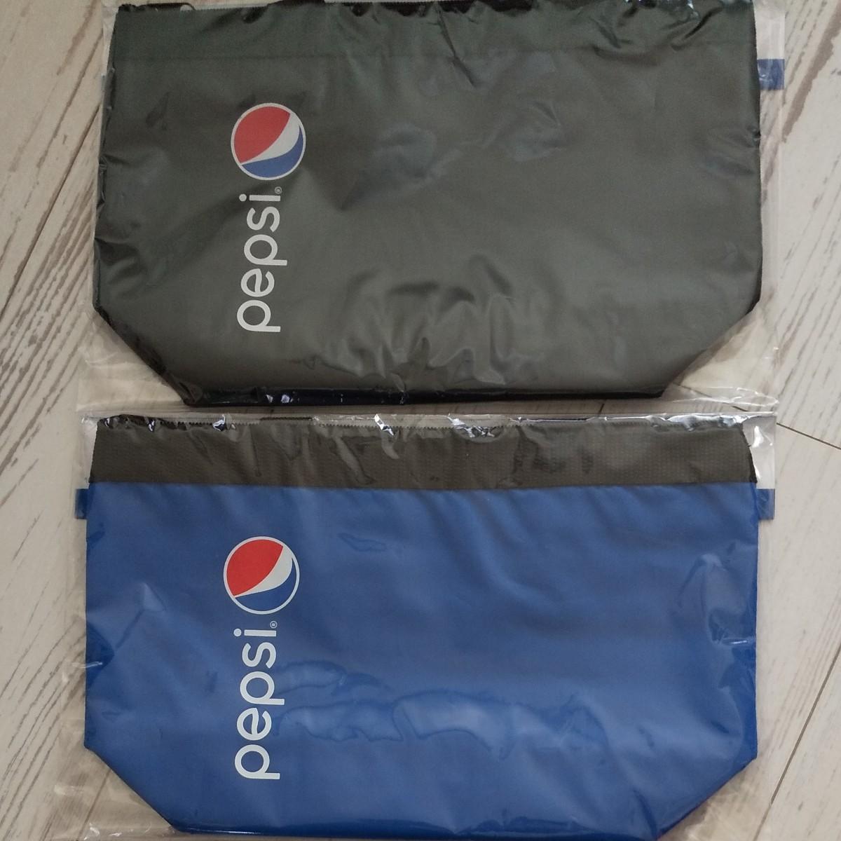 トートバッグ ペプシ 非売品 ペットボトル オリジナル保冷トート ランチバッグ 黒 青 ブラック ブルー 2枚セット