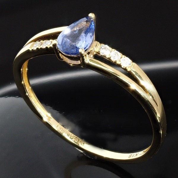 【最高級】天然 セイロン サファイア ダイヤモンド リング 指輪 高純度 最高品質 希少 K18YG・0.45ct 刻印有 18金_画像2