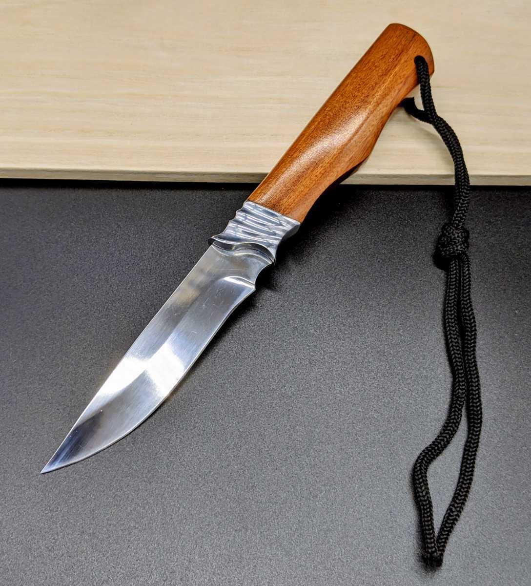 軽い鏡面仕上げ ノーブランド ウッドハンドル サバイバルナイフ シースナイフ アウトドア用小型ナイフ サバイバル