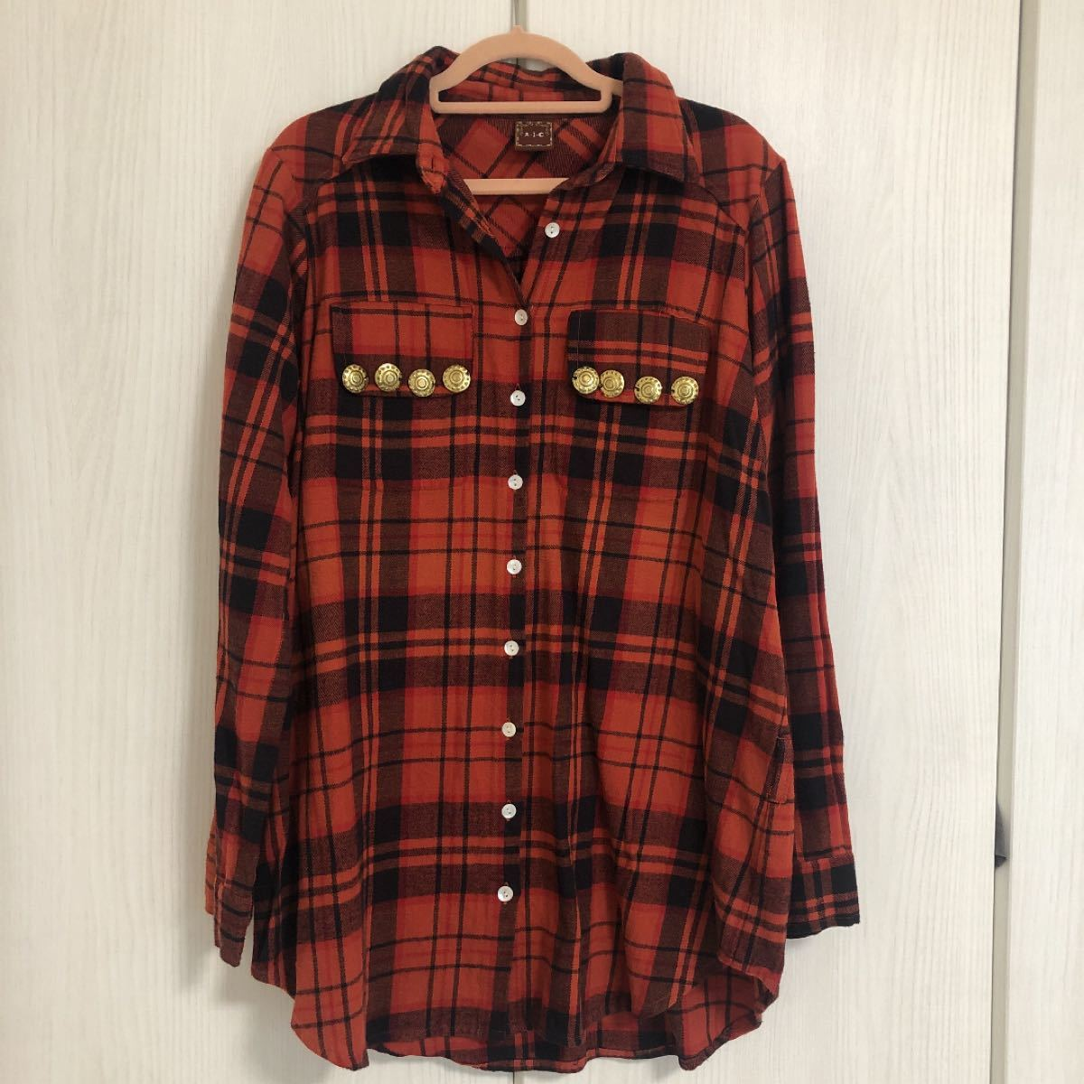 AIC  チェックシャツ 長袖シャツ チェック柄 チェックネルシャツ 赤