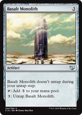 え銀 玄武岩のモノリス 1枚(4枚在庫s 英 良品 C15)/Basalt Monolith(MTG /統率者(2015年版)/Commander 2015/)_画像1