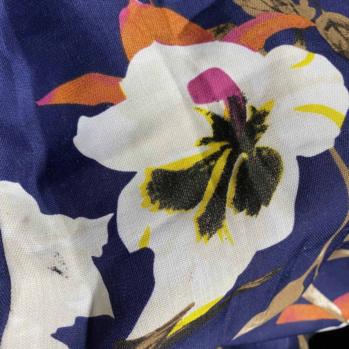 ロングスカート 花柄 マキシ丈スカート フレア フレアスカート リネン マキシ ロング丈 ロング スカート 大花 M