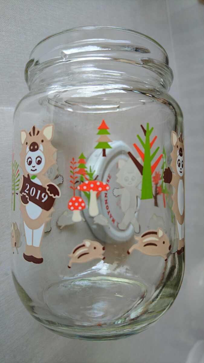 キューピーマヨネーズ 干支イラスト入瓶(空瓶 2019年 亥年 イノシシのイラスト コレクションアイテム 瓜坊てててと走り回ってます。_画像4