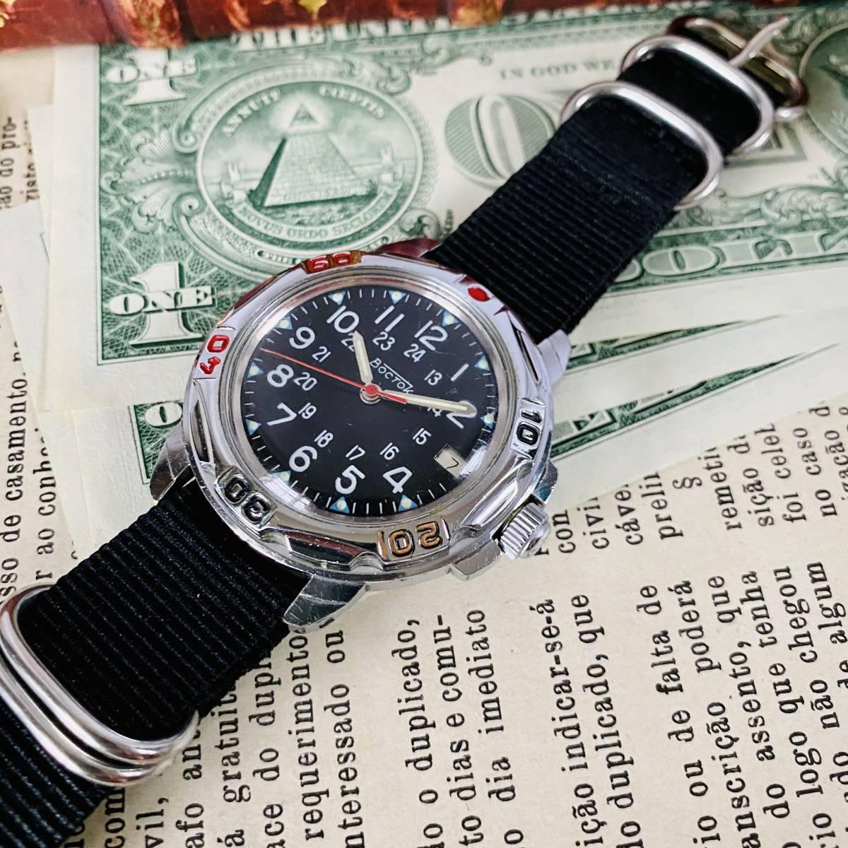 【ミリタリー腕時計】VOSTOK Komandirskie 手巻き 腕時計 メンズ レディース ビンテージ ロシア ボストーク コマンダースキー 24H デイト_画像3