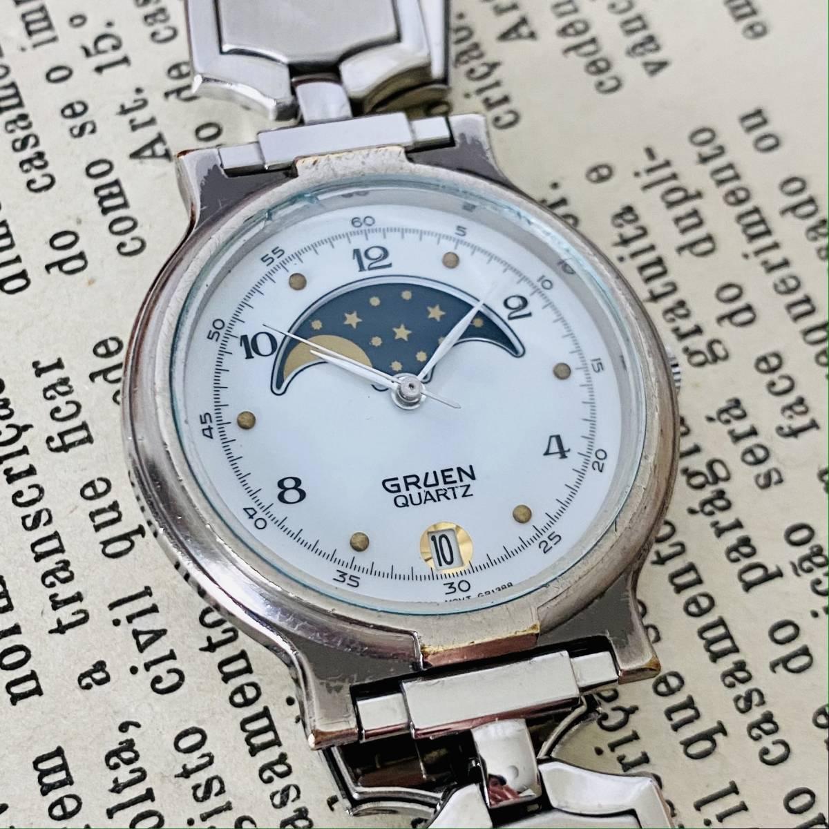 【高級時計グリュエン】Gruen ムーンフェイス クォーツ 腕時計 レディース ビンテージ ブレスレット カクテル ウォッチ クリスタル 訳あり_画像3