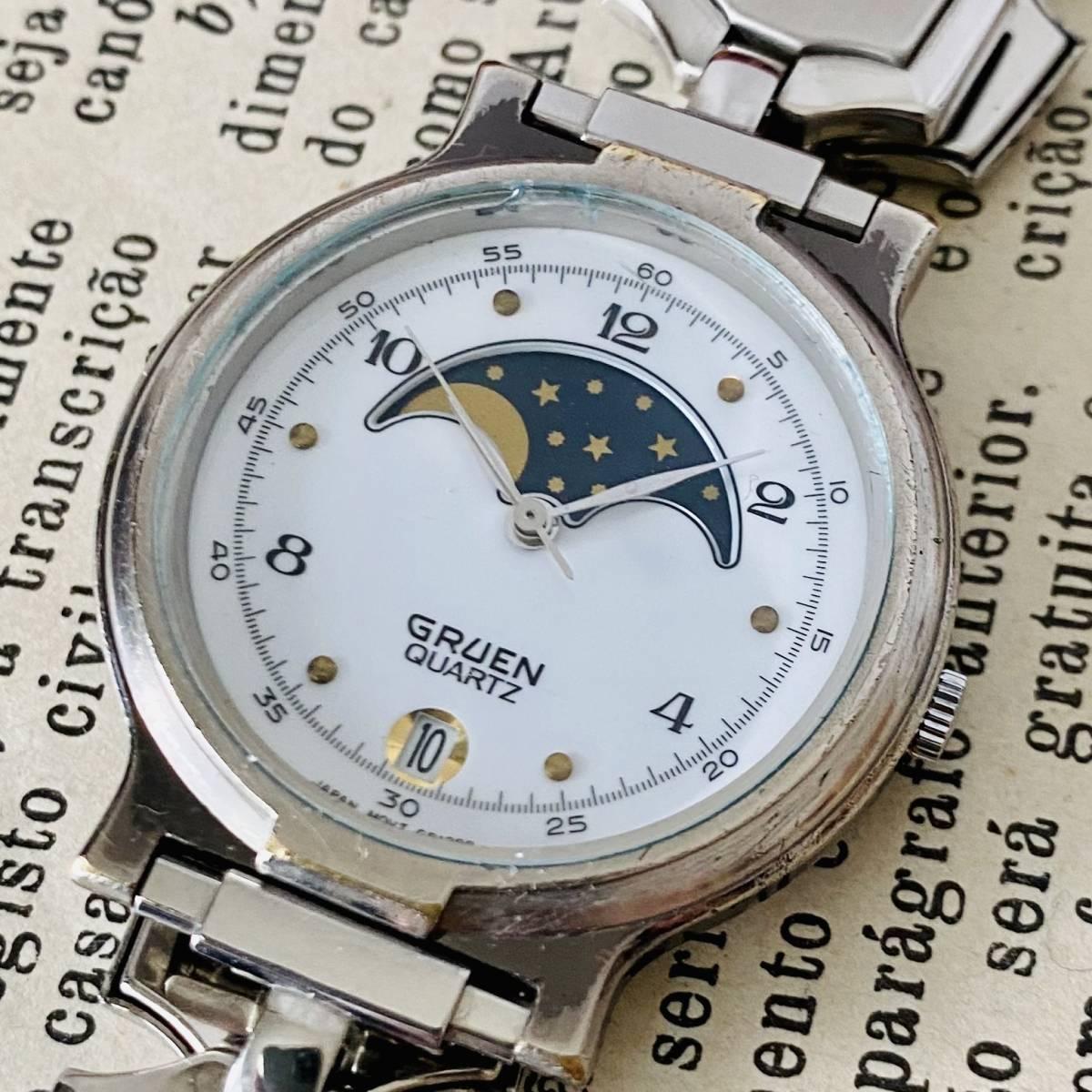 【高級時計グリュエン】Gruen ムーンフェイス クォーツ 腕時計 レディース ビンテージ ブレスレット カクテル ウォッチ クリスタル 訳あり_画像2