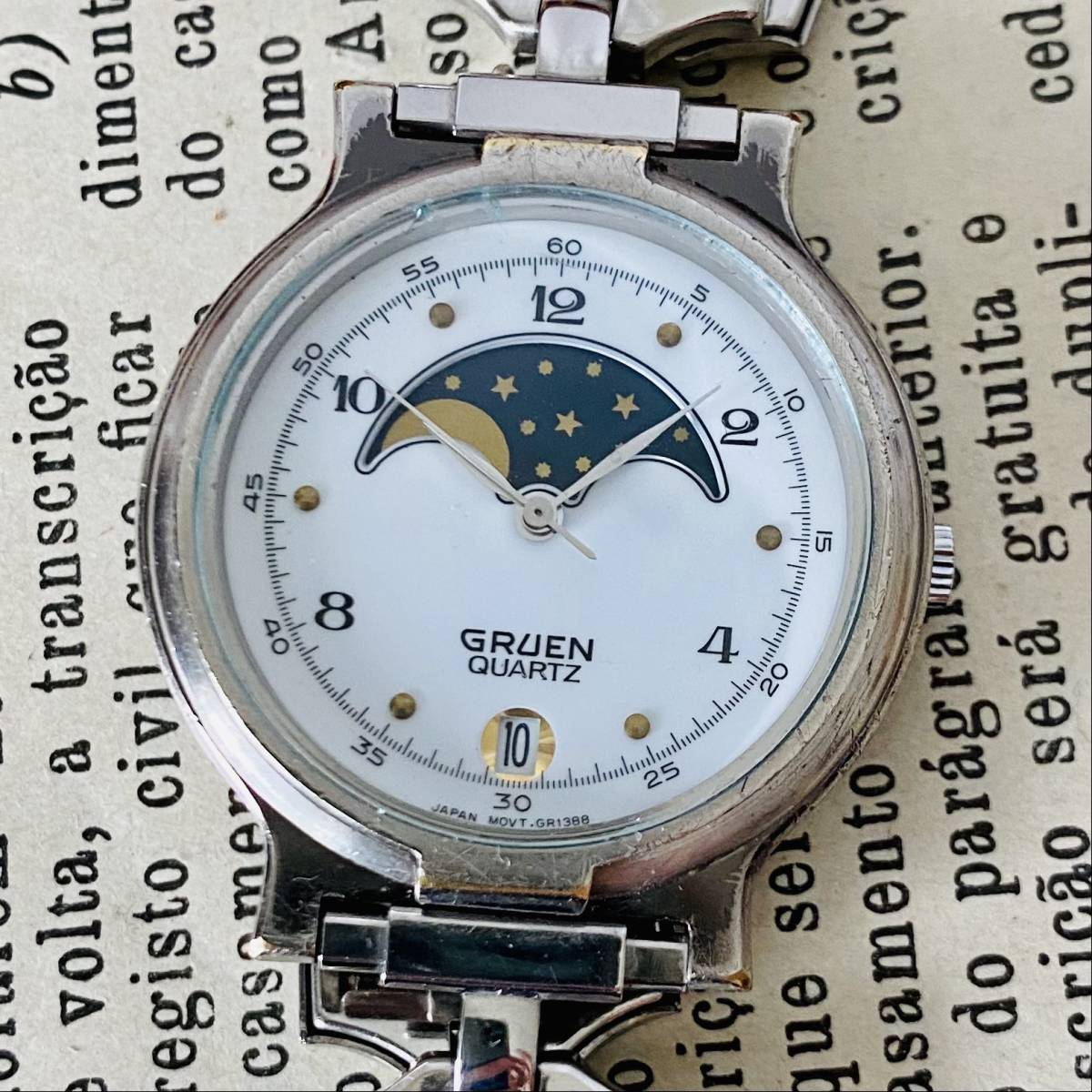【高級時計グリュエン】Gruen ムーンフェイス クォーツ 腕時計 レディース ビンテージ ブレスレット カクテル ウォッチ クリスタル 訳あり_画像1