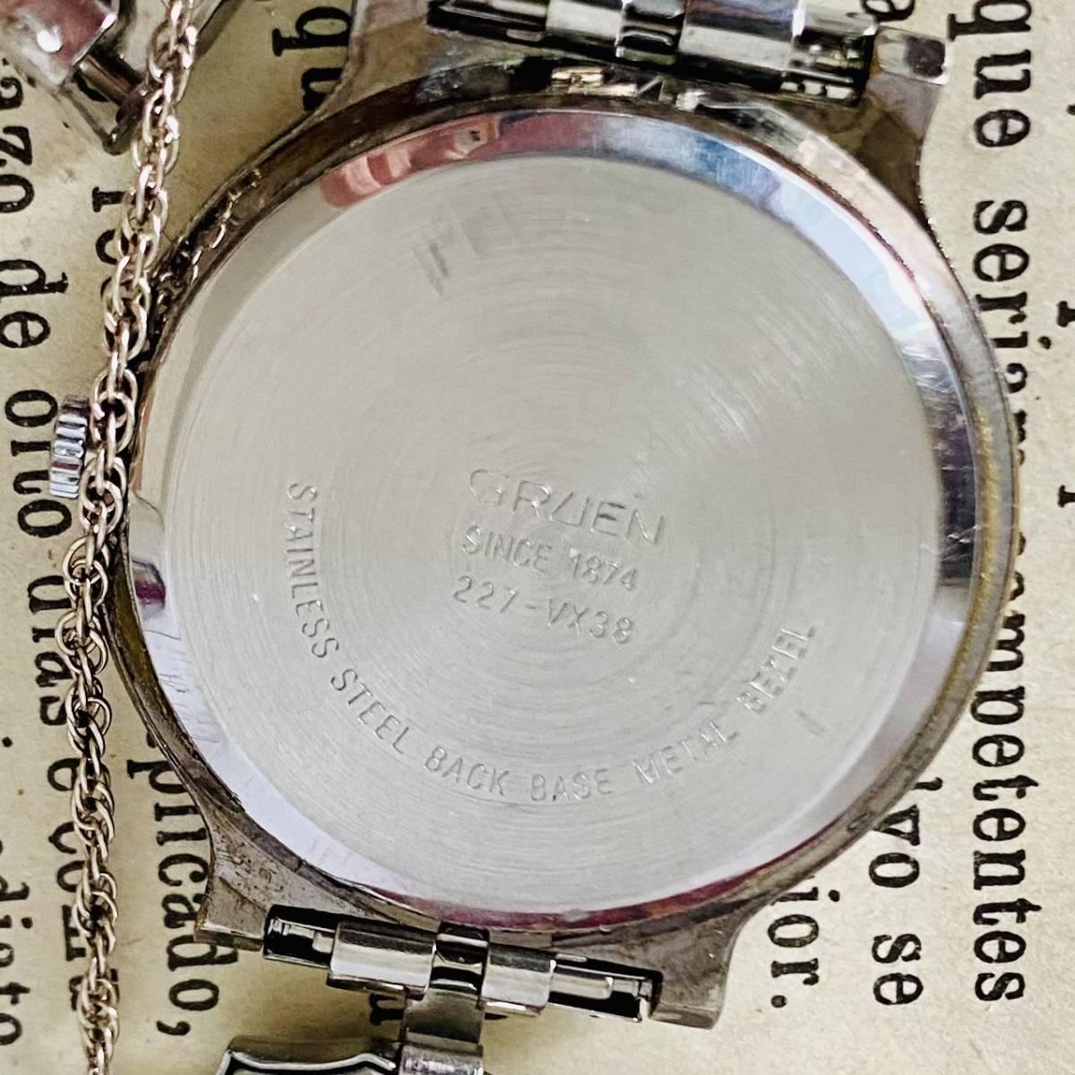 【高級時計グリュエン】Gruen ムーンフェイス クォーツ 腕時計 レディース ビンテージ ブレスレット カクテル ウォッチ クリスタル 訳あり_画像6
