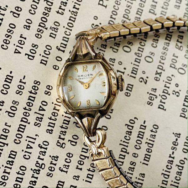 【アンティーク グリュエン】Gruen プレシジョン 10KRGP 1940年代 手巻き メンズ レディース ビンテージ アナログ 腕時計_画像1