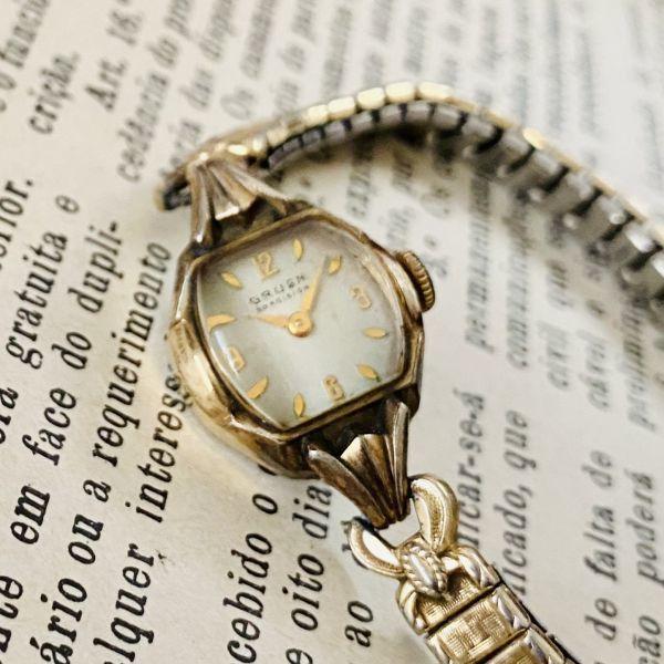 【アンティーク グリュエン】Gruen プレシジョン 10KRGP 1940年代 手巻き メンズ レディース ビンテージ アナログ 腕時計_画像3
