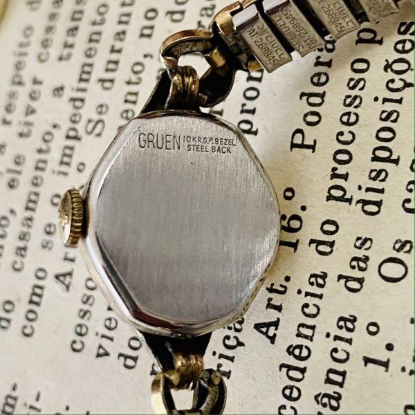 【アンティーク グリュエン】Gruen プレシジョン 10KRGP 1940年代 手巻き メンズ レディース ビンテージ アナログ 腕時計_画像8