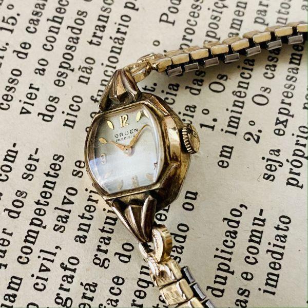 【アンティーク グリュエン】Gruen プレシジョン 10KRGP 1940年代 手巻き メンズ レディース ビンテージ アナログ 腕時計_画像2