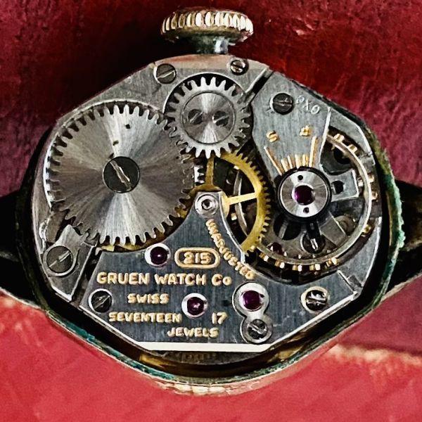【アンティーク グリュエン】Gruen プレシジョン 10KRGP 1940年代 手巻き メンズ レディース ビンテージ アナログ 腕時計_画像9