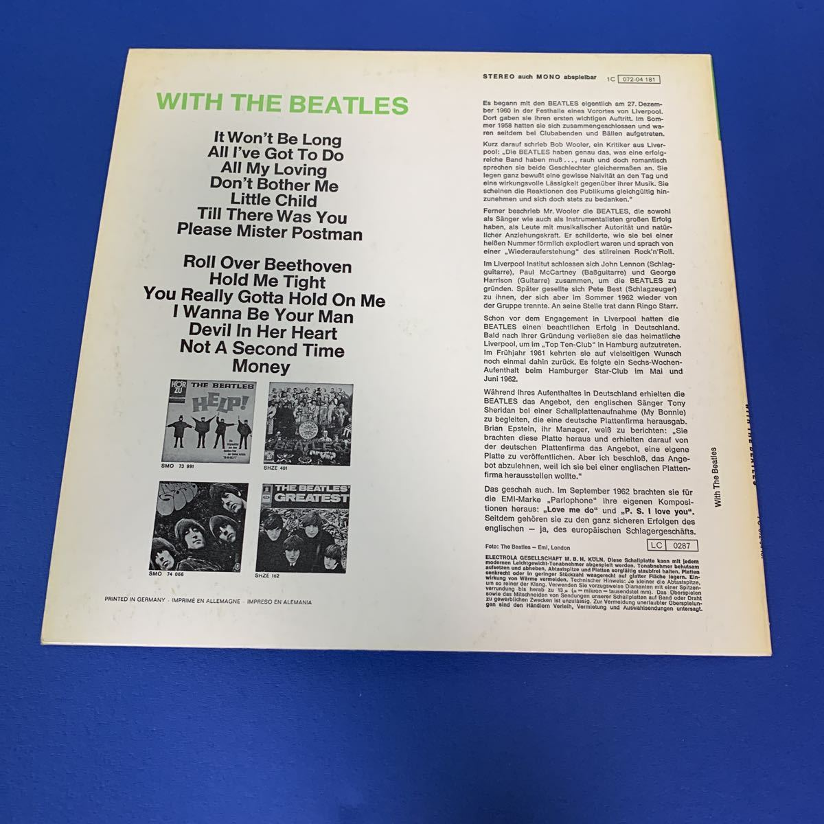BEATLES (ドイツ盤) ODEAN 【希少】●WITH THE BEATLES_画像2