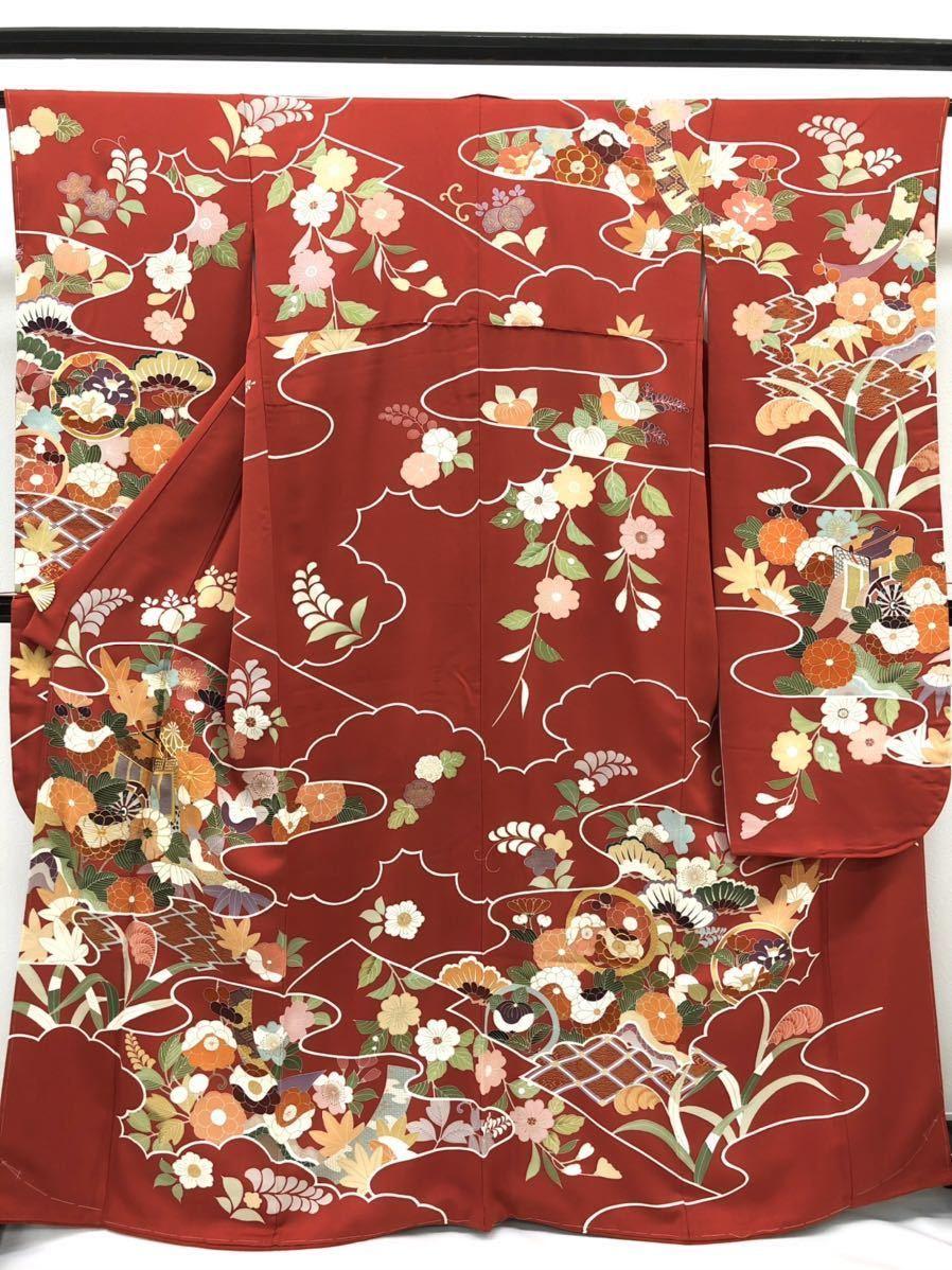 千總謹製 お仕立て上がり 振袖 金駒 刺繍 金彩加工 御所車 古典 重ね衿付き 正絹 落款入り 躾糸付き 赤丹色