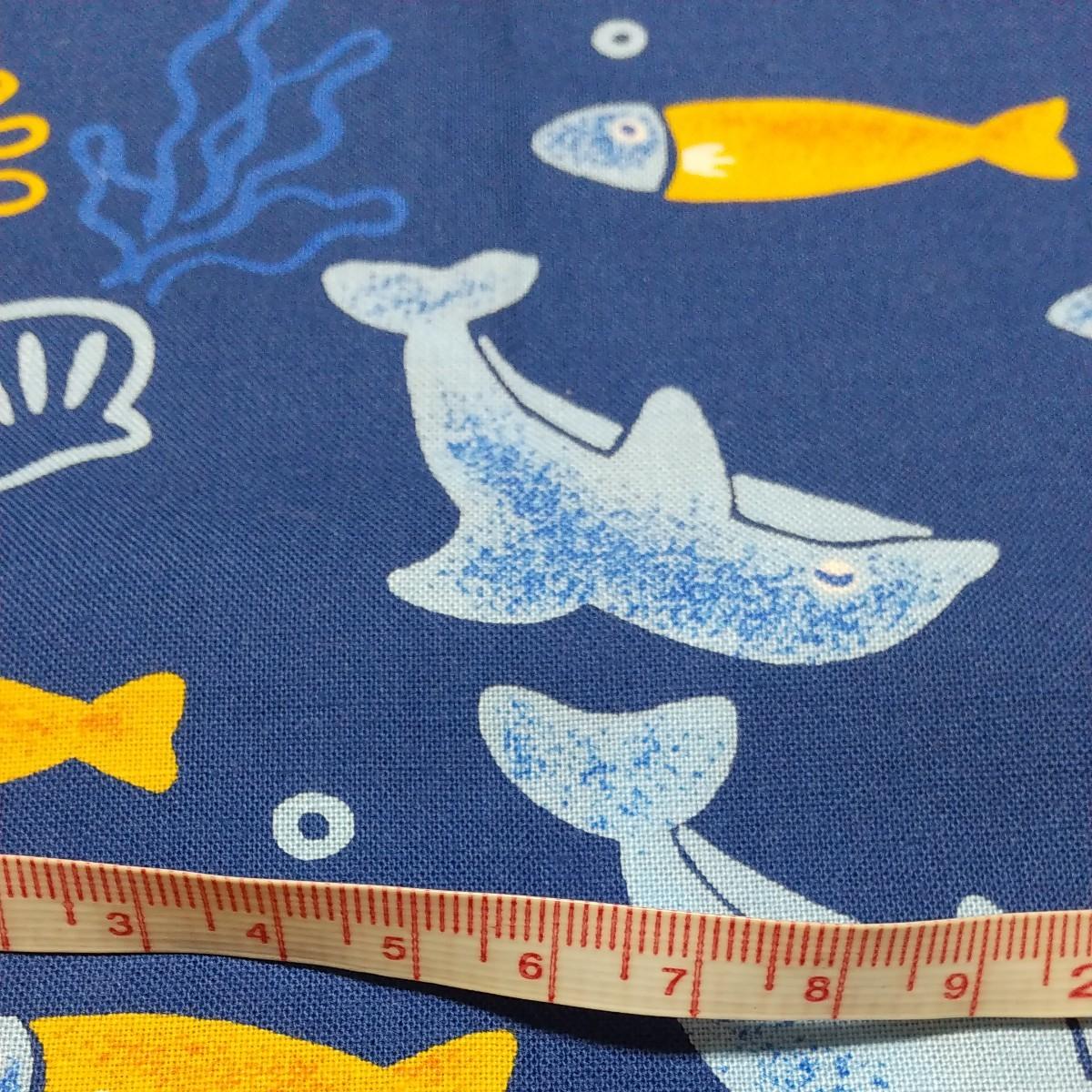 はぎれ  生地 クジラ イルカ さかな 貝