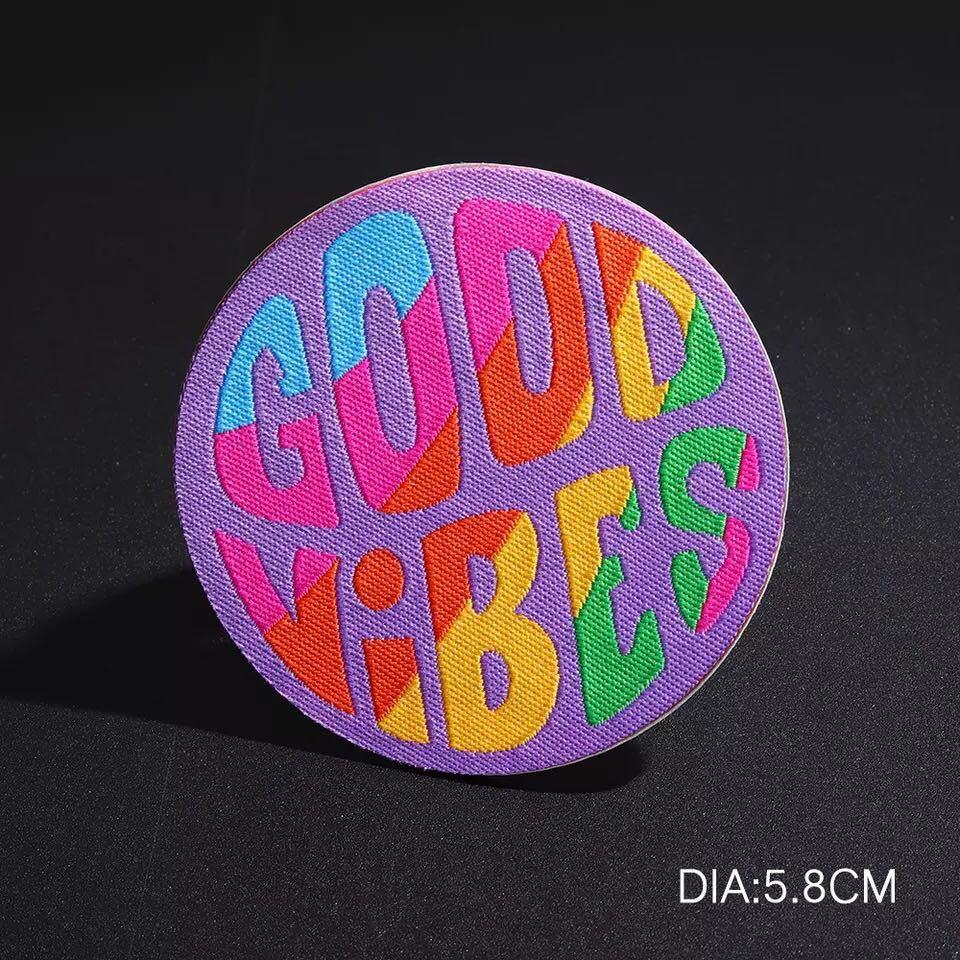 送料無料 グッドバイブス ワッペン GOOD VIBESワッペン アップリケパッチ アイロンワッペン 刺繍ワッペン_画像1
