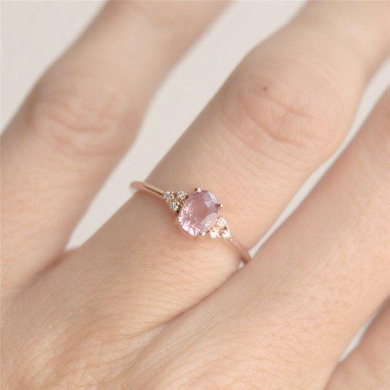 ROMAD ピンク CZ 婚約指輪女性のためのローズゴールドの結婚指輪珍味 Valantine のギフトガールフレンドのためのロマンチックなジュエリー_画像3