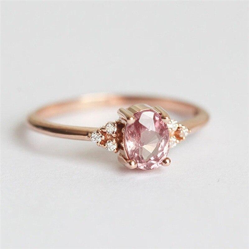ROMAD ピンク CZ 婚約指輪女性のためのローズゴールドの結婚指輪珍味 Valantine のギフトガールフレンドのためのロマンチックなジュエリー_画像1