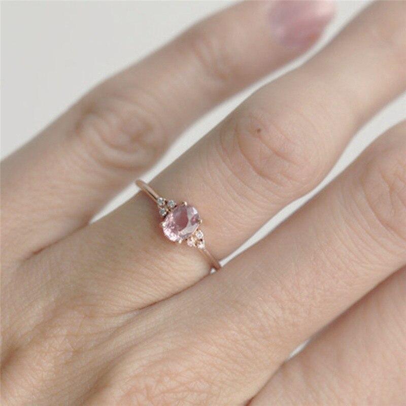 ROMAD ピンク CZ 婚約指輪女性のためのローズゴールドの結婚指輪珍味 Valantine のギフトガールフレンドのためのロマンチックなジュエリー_画像2