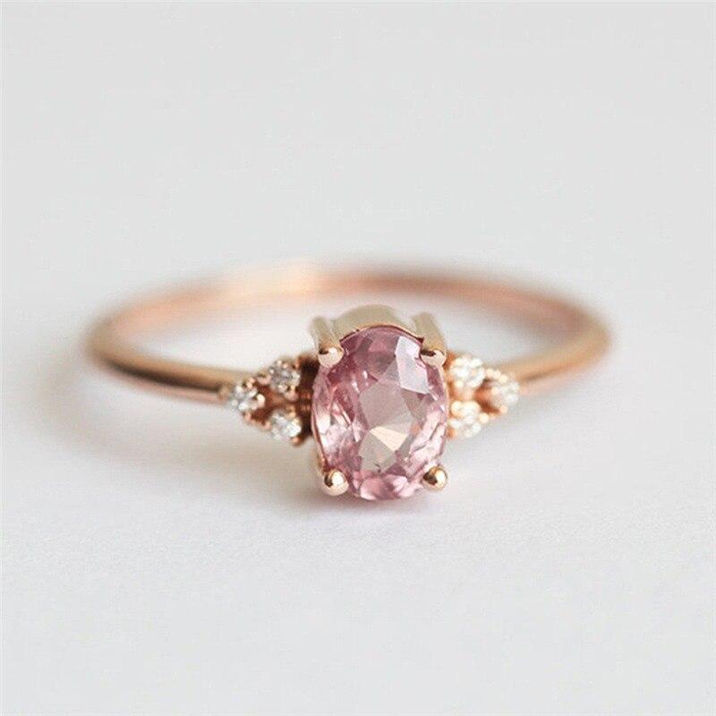 ROMAD ピンク CZ 婚約指輪女性のためのローズゴールドの結婚指輪珍味 Valantine のギフトガールフレンドのためのロマンチックなジュエリー_画像4