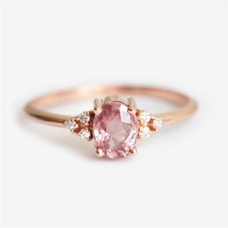 ROMAD ピンク CZ 婚約指輪女性のためのローズゴールドの結婚指輪珍味 Valantine のギフトガールフレンドのためのロマンチックなジュエリー_画像5